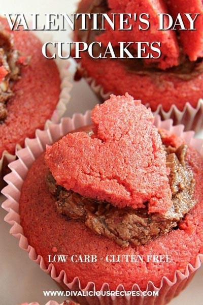 Keto Valentines Day Treats: Valentines Day Almond Flour Cupcakes