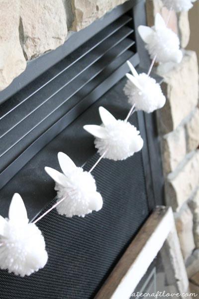 Easter Crafts for Kids: Bunny Pom Pom Garland