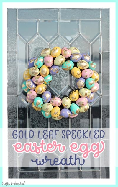 DIY Easter Wreaths: DIY Easter Wreath with Gold Leaf Speckled Eggs