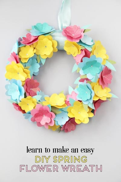 DIY Easter Wreaths: DIY Spring Paper Flower Wreath