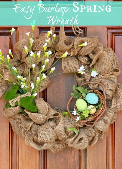 DIY Easter Wreaths: Easiest Burlap Wreath