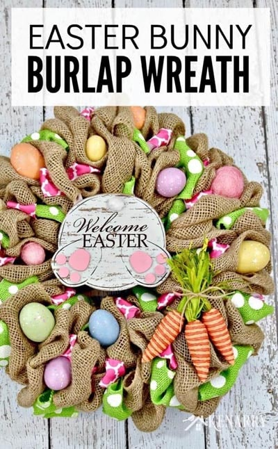 DIY Easter Wreaths: Easter Bunny Burlap Wreath