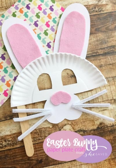 Easter Bunny Paper Plate Mask Craft