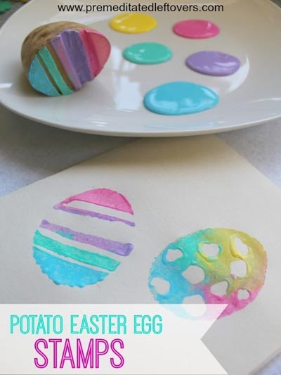 Easter Crafts for Kids: Handmade Potato Easter Egg Stamps