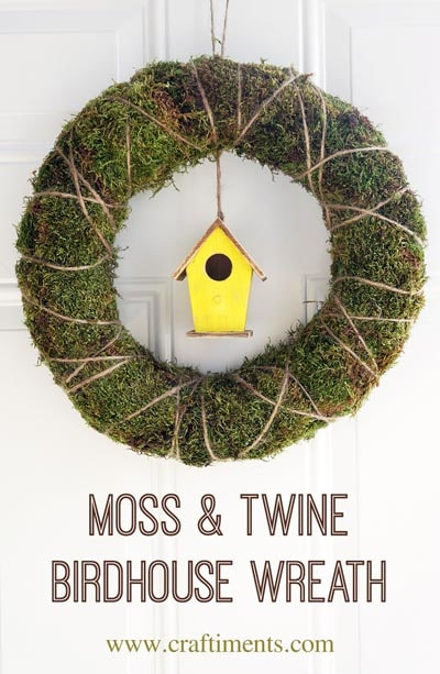 DIY Easter Wreaths: Moss & Twine Birdhouse Wreath