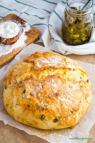 Homemade bread recipes: No Knead Jalapeno Cheese Artisan Bread