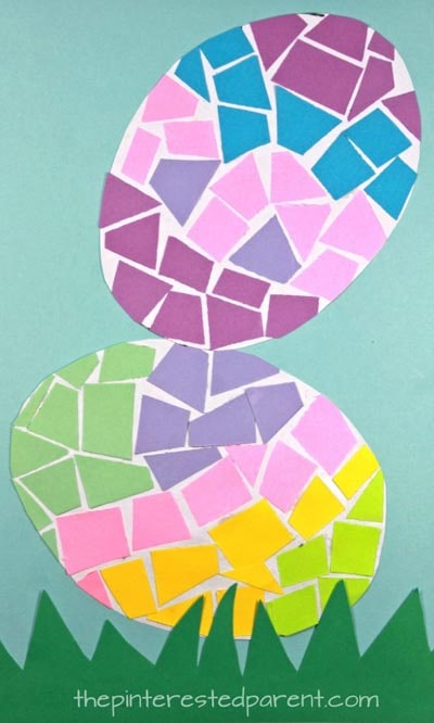 Easter Crafts for Kids: Paper Mosaic Easter Eggs