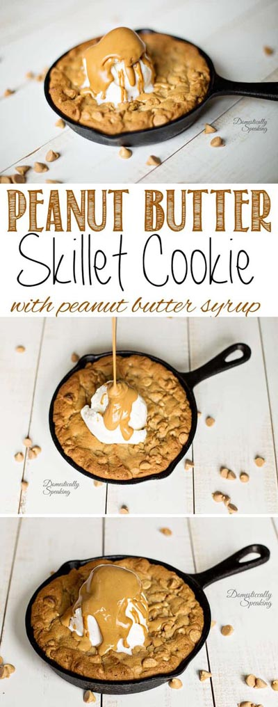 Skillet Desserts: Peanut Butter Skillet Cookie with Peanut Butter Syrup