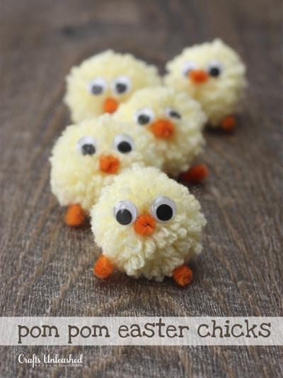 Easter Crafts for Kids: Pom Pom Easter Chicks
