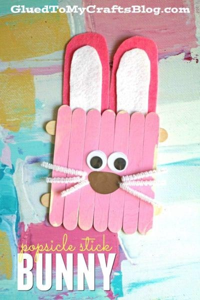 Easter Crafts for Kids: Popsicle Stick Easter Bunny