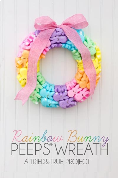 DIY Easter Wreaths: Rainbow Bunny Peeps Wreath