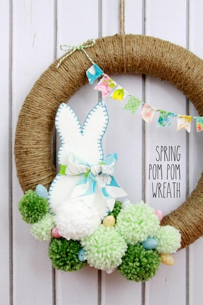 DIY Easter Wreaths: Spring Pom Pom Wreath