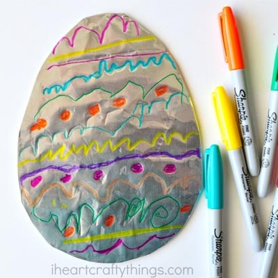 Easter Crafts for Kids: Tin Foil Easter Egg Art