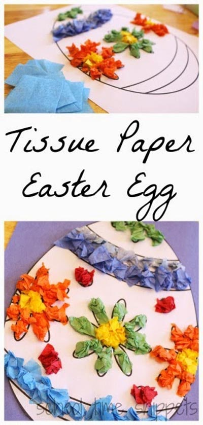 Easter Crafts for Kids: Tissue Paper Easter Egg Craft