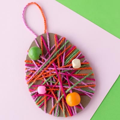 Easter Crafts for Kids: Yarn Wrapped Easter Egg Craft