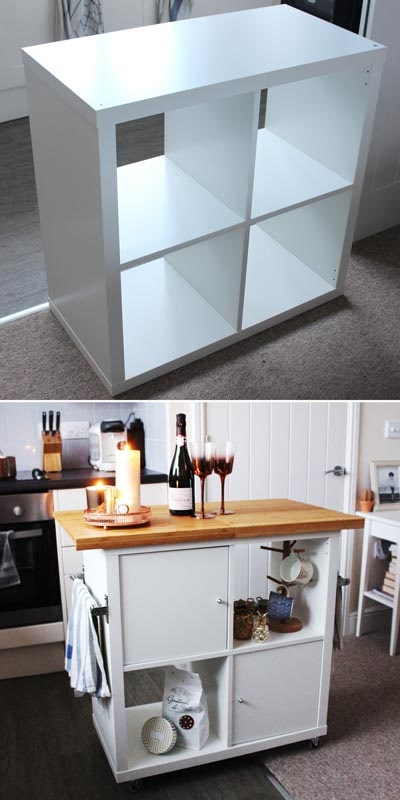 IKEA Kallax Hacks: IKEA Kallax Turned into Kitchen Island