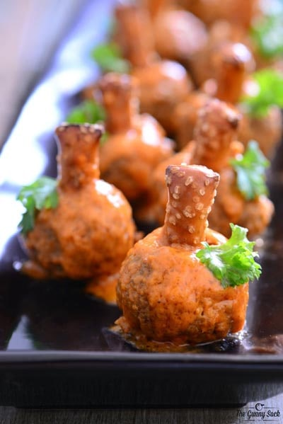 Halloween Party Appetizers: Buffalo Meatball Pumpkins