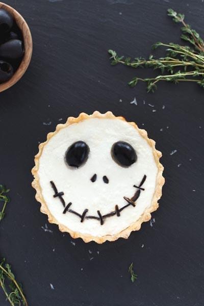 Halloween Party Appetizers: Halloween Jack Skellington Ricotta Olive Tarts