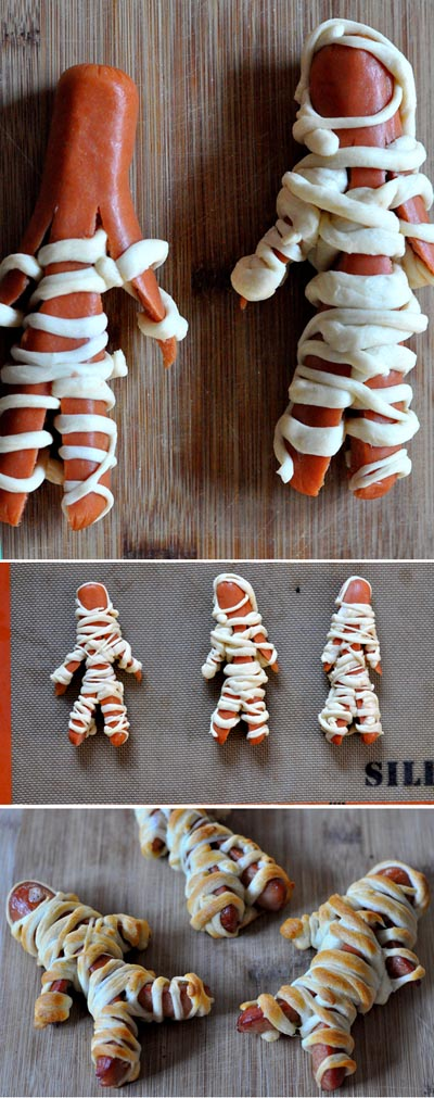 Halloween Party Appetizers: Mummy Hot Dogs