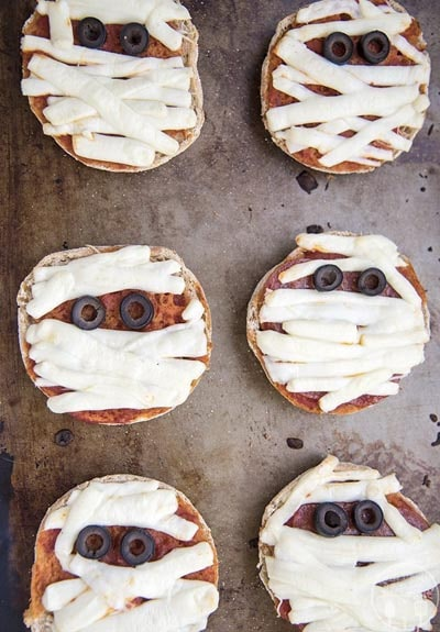 Halloween Party Appetizers: Mummy Mini Pizzas
