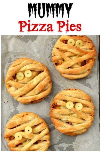 Halloween Party Appetizers: Mummy Puff Pastry Pizza Pies