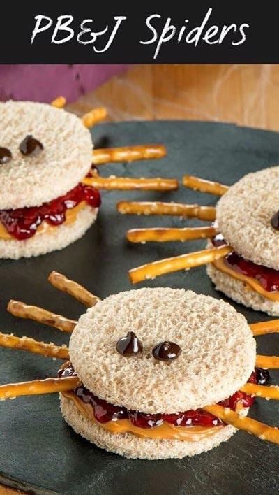 Halloween Party Appetizers: PB&J Spider Sandwich