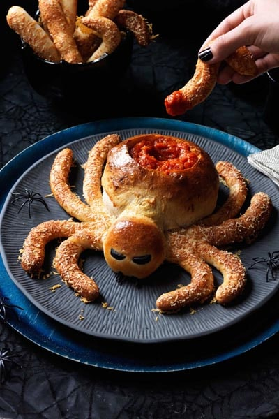 Halloween Party Appetizers: Saucy Spider with Hairy Leg Sticks