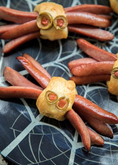 Halloween Party Appetizers: Spider Hotdogs