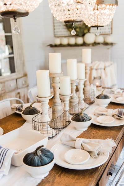 Easy DIY Thanksgiving table setting ideas: Candle Table Setting