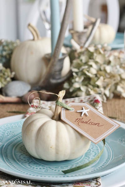 Easy DIY Thanksgiving table setting ideas: Coastal Thanksgiving Table