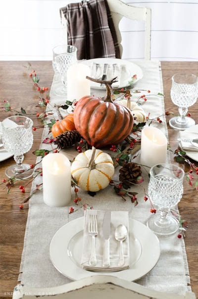Easy DIY Thanksgiving table setting ideas: Layered Thanksgiving Table Setting